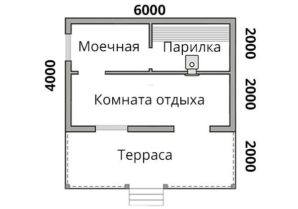 Баня 4х6 + терраса 2х6 из бруса - планировка