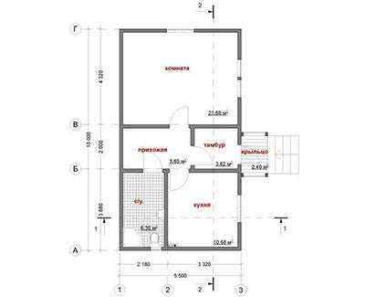 Каркасный дом 5,5х10 одноэтажный - планировка
