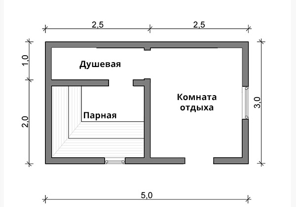 Баня 3х5 из бруса - планировка