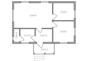 Одноэтажный каркасный дом 6х9 - планировка