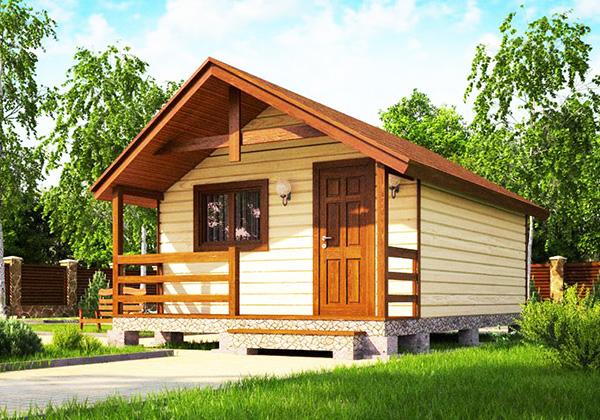 Каркасный дом 5х4 одноэтажный с террасой 1х4 - внешний вид 1