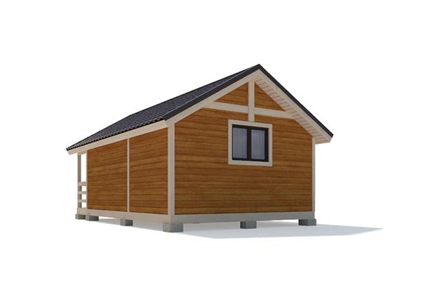 Каркасный дом 5х4 одноэтажный с террасой 1х4 - внешний вид 3