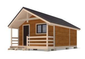 Каркасный дом 5х4 одноэтажный с террасой 1х4 - внешний вид 2