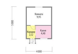 Каркасный дом 5х4 одноэтажный с террасой 1х4 - планировка