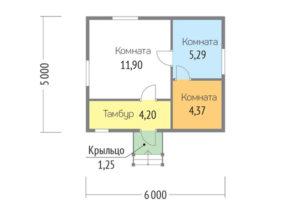 Каркасный дом 5х6 одноэтажный - планировка