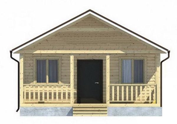 Каркасный дом 4.5х6 одноэтажный с террасой 1,5×6 - внешний вид 3