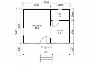 Каркасный дом 4.5х6 одноэтажный с террасой 1,5×6 - планировка