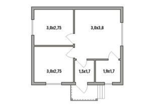Каркасный дом 6х7 одноэтажный - планировка
