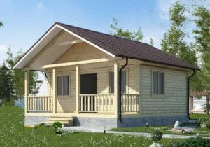 Каркасный дом 4.5х6 одноэтажный с террасой 1,5×6 - внешний вид 1