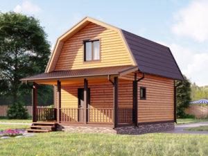 Каркасный дом 6х6 с мансардой и террасой 2х6 под ключ - внешний вид 1