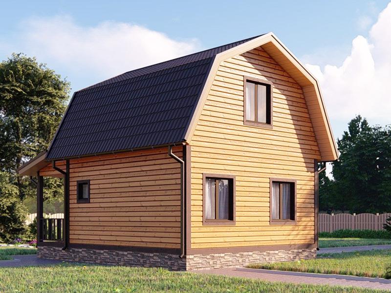 Каркасный дом 6х6 с мансардой и террасой 2х6 под ключ - внешний вид 2