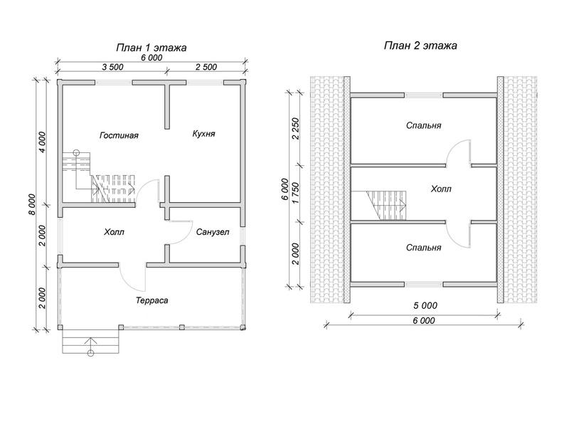 Каркасный дом 6х6 с мансардой и террасой 2х6 под ключ - планировка