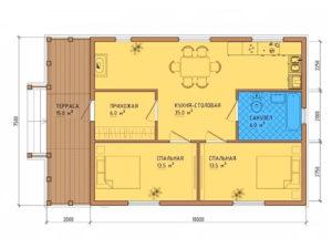 Каркасный дом 7,5х10 + терраса 7,5х2 одноэтажный под ключ - план