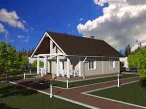Каркасный дом 7,5х10 + терраса 7,5х2 одноэтажный под ключ - общий вид