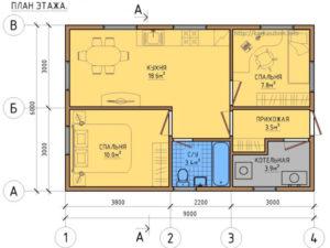 Каркасный дом 6х9 одноэтажный под ключ - план дома
