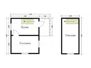 Каркасный дом 5х4 с мансардой и крыльцом 2х1,5 - планировка