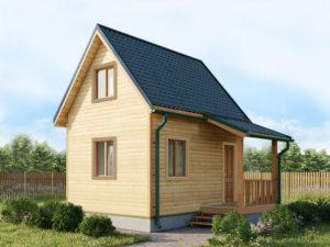 Каркасный дом 5х4 с мансардой и крыльцом 2х1,5 -внешний вид