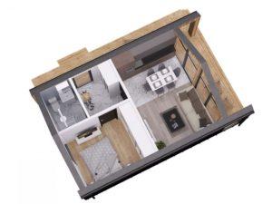 """Каркасный дом 6х6 в стиле """"барнхаус"""" одноэтажный - планировка"""